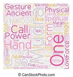 qué, concepto, texto, Mudras, mano, 1, wordcloud, parte,...