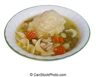 chicken and dumplings isolated - Chicken and dumplings in a...