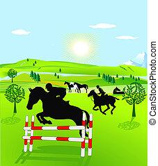 horseback riding and show jumping