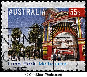 Luna Park in Melbourne - AUSTRALIA - CIRCA 2008: A stamp...