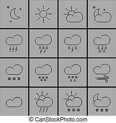 weather icons - set with different weather icons in...
