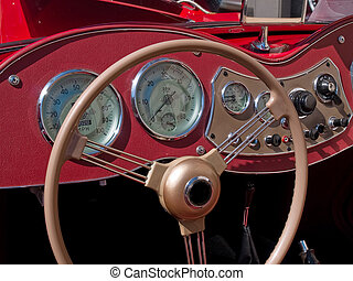 Old classical vintage sports car dashboard - Old classical...