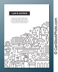 Law and Justice - line design brochure poster template A4 -...