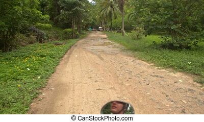 Camera Moves along Ground Road by Palms Tropical Trees -...