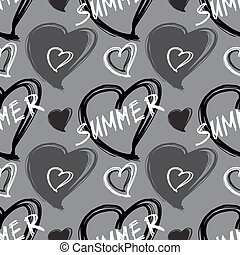 Vector pattern with hart shape. - Summer seamless pattern....