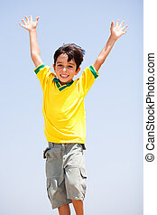 Young kid with raised arms