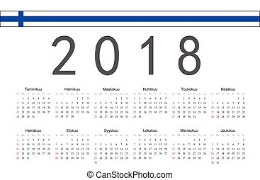 Finnish 2018 year vector calendar - Simple rectangular...