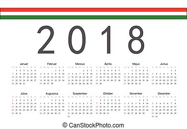 Hungarian 2018 year vector calendar - Simple rectangular...