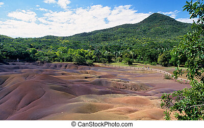 """Geologic formation of Chamarel called """"Seven colored earth""""...."""