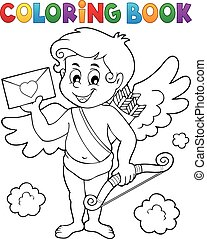 Coloring book Cupid holding envelope - eps10 vector...