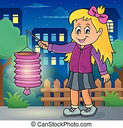 Girl with paper lantern theme