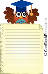 Notebook page with school owl