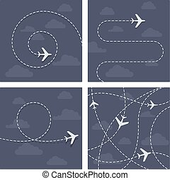 Plane flight with dotted trace of the airplane