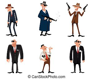 Six gangsters set - Vector illustration of a six gangsters...
