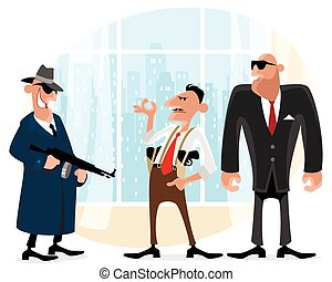 Three cool gangsters - Vector illustration of a three cool...