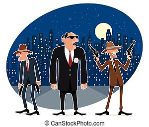 Three funny gangsters - Vector illustration of a three funny...