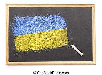 Ucrania, pizarra, nacional, bandera, dibujado, en,  (series)