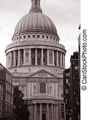 St Pauls Cathedral in London in sepia black and white tone