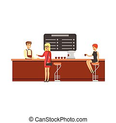 Woman Sitting At The Counter On Bar Chair At The Coffee Shop Drinking Coffee While Another Client Is Ordering Vector Illustration