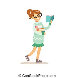 Girl In Glasses Who Loves To Read, Illustration With Kid Enjoying Reading An Open Book