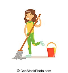 Girl Washing The Floor With Mop And Water Smiling Cartoon...