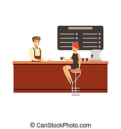 Woman Sitting At The Counter On Bar Chair At The Coffee Shop Drinking Coffee And Talking To Barista Vector Illustration