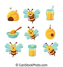 Honey Bees, Beehives And Jars With Yellow Natural Honey Set Of Colorful Cartoon Illustrations.
