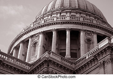 St Pauls Cathedral Church, London in black and white sepia tone