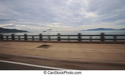 Camera Moves along Embankment - NHA TRANG, KHANH HOA/VIETNAM...