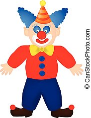 Clown in red shirt, blue trousers, black boots with pompons