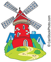 Cartoon mill on white background - vector illustration