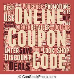 Online Coupon Deals text background wordcloud concept