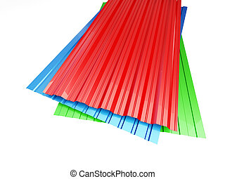 Colored corrugated metal sheet on white background. 3d...