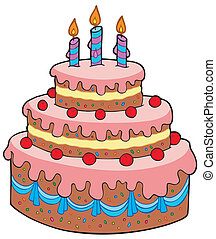Big cartoon birthday cake - vector illustration.