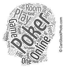 online poker text background wordcloud concept