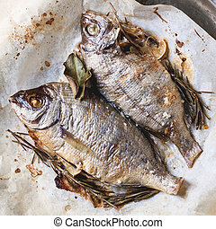 Tow grilled fish - Top view on tow grilled fish bream with...