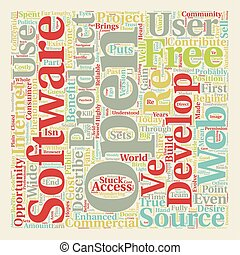 Open Source 1 text background wordcloud concept