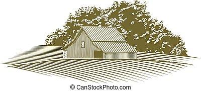 Woodcut Barn in Missouri