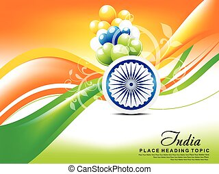Happy indian republic day wave background with balloon. -...