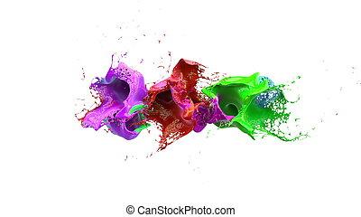 inks splashes in white background 3d illustration - inks...