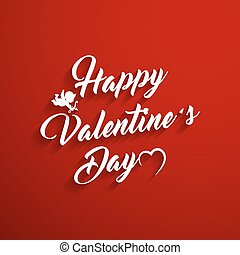 Vector Happy Valentine's Day Hand Drawing Background With Heart and Cupid.