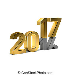 New Year Golden 2017 Over Weared 16 Number. 3D Render...