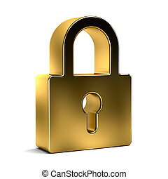 Padlock Security Device Golden Style. 3D rendering...