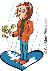 Sad young man waiting for date under the rain. Vector...