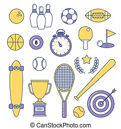Sports line icons. Colorful set with baseball, longboard and...