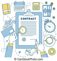 Contract, line design illustration