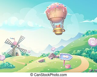 Vector illustration landscape with fox in blimp