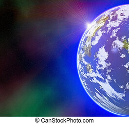 earth planet on sun and stars background with flare - earth...