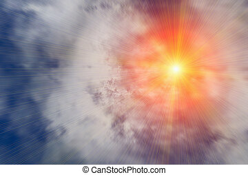 bright sun beams through clouds