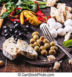 Antipasti - Mixed antipasti pickled blue cheese, olives and...